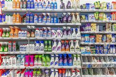 Free Moscow, Russia, 04/07/2020: A Rich Assortment Of Household Chemicals On A Supermarket Shelf. Cleanliness And Order In The House Stock Photo - 178431390