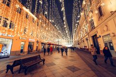 Moscow, Russia, 2018. Christmas And New Year Lights At Nikolskaya Street Stock Photo