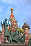 Moscow in Russia. St Basil`s church in Moscow and Minin and Pozharsky monument on the Red square, Moscow Royalty Free Stock Photos
