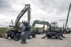 Free Moscow Russia 30.06.2019 Engineering Troops, Two Military Excavator With Lowered Buckets Royalty Free Stock Photos - 152963228