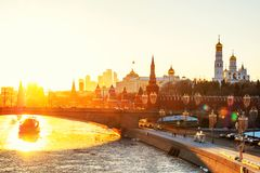 Aerial view of popular landmark Kremlin in Moscow, Russia at sunset Stock Photography