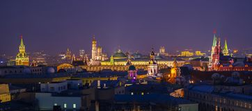Moscow, Russia. Aerial view of popular landmarks - Kremlin walls, Saint Basil Cathedral and others - in Moscow, Russia. At night Horizontal Stock Images