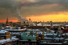 Aerial view of popular landmarks in Moscow, Russia at sunset. Moscow, Russia. Aerial view of popular landmarks - Kremlin walls, Saint Basil Cathedral and others Stock Images