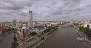 Moscow, Russia. Aerial view of Russian cultural center `Red Hills` includes a Business center `Riverside towers`, Moscow. Moscow, Russia. Aerial view of Russian stock video footage
