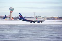 Moscow, Russia, Aeroflot Plane At The Airport At Sheremetyevo Airport In The Winter. Stock Photo