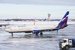 Moscow, Russia, Aeroflot Plane At The Airport At Sheremetyevo Airport In The Winter. Royalty Free Stock Image