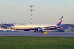 Moscow, Russia - 04/29/2018: Airbus A330 of Aeroflot airline stands on the lane at Sheremetyevo International Airport royalty free stock image
