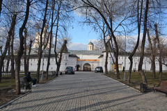 Moscow, Russia. Andronikov Monastery. Walls and towers. Stock Photos