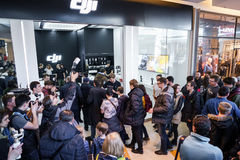 MOSCOW RUSSIA:01 APR 2017 - DJI Quadcopter Drone store opening c Stock Photo