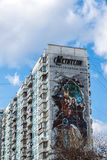 Moscow, Russia - April 04.2016. Advertising Avengers from Marvel comics on  facade of  residential building. Moscow, Russia - April 04.2016. Advertising Avengers Royalty Free Stock Image
