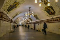MOSCOW, RUSSIA- APRIL, 29, 2018: Beautiful indoor view of Kievskaya Metro Station in Moscow. It is on the Koltsevaya. Line, between Park Kultury and Stock Image