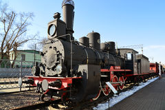 Moscow, Russia - April 1.2017. Black old locomotive in Museum of History of Railway Transport Development. Moscow, Russia - April 1.2017. Black old locomotive in royalty free stock images