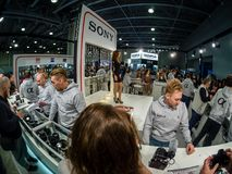 Booth of Sony company at PhotoForum 2018 trade show. MOSCOW, RUSSIA - APRIL 13, 2018: Booth of Sony company at PhotoForum 2018 trade show and exhibition in stock photography