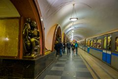 MOSCOW, RUSSIA- APRIL, 29, 2018: The bronze sculpture inside of Ploshchad Revolyutsii subway station. In Moscow Russia Stock Photography