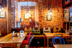 Moscow, Russia - April 12, 2016: cafe interior brick wall Royalty Free Stock Image
