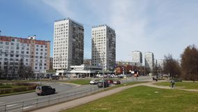 Moscow, Russia-April 24.2018. Central prospekt is the main street of Zelenograd. Moscow, Russia-April 24.2018. Central prospekt is the main street of the stock video footage