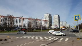 Moscow, Russia-April 24.2018. Centralnyi prospekt is the main street of Zelenograd. Moscow, Russia-April 24.2018. Central prospekt is the main street of the stock video