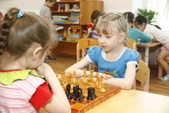 MOSCOW, RUSSIA-APRIL 17, 2014: children play with toys in a kindergarten Royalty Free Stock Images