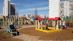 Moscow, Russia-April 22.2018. Children playing on playground in Zelenograd stock footage