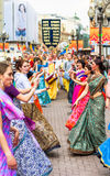 Hare Krishna members on Old Arbat Royalty Free Stock Photos