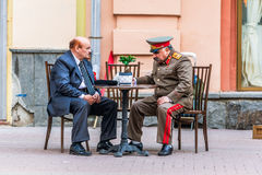 Impersonators of Lenin and Stalin on Old Arbat Royalty Free Stock Images