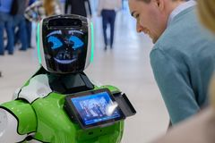 Interactive Robot meet visitors at Skolkovo Robotics Forum Royalty Free Stock Image