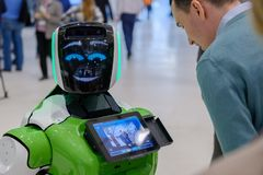 Interactive Robot meet visitors at Skolkovo Robotics Forum Stock Image