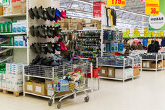 Moscow, Russia-April 24.2016. The interior of large store network Auchan Royalty Free Stock Image
