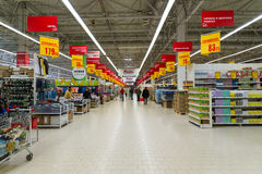 Moscow, Russia-April 24.2016. The interior of large store network Auchan Stock Photo