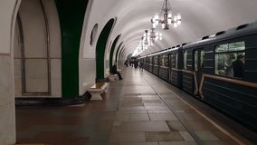 Moscow, Russia - April 30. 2018. interior of VDNKh metro station. Moscow, Russia - April 230. 2018. interior of a VDNKh metro station stock footage