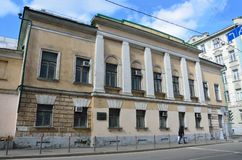 Moscow, Russia, April, 15, 2017. The main building of the ensemble of urban manor of S. G. Popov and D. P. Elagin in Lyalin lane, Stock Image