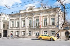The main house of the Zimins city manor built in the early XIX century. Moscow, Russia - April 10, 2015: The main house of the Zimins city manor built in the Stock Photography
