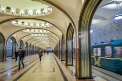 MOSCOW, RUSSIA- APRIL, 29, 2018: Mayakovskaya subway station in Moscow, Russia. A fine example of Stalinist architecture. And one of the most famous Metro Stock Photos