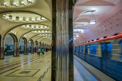 MOSCOW, RUSSIA- APRIL, 29, 2018: Mayakovskaya subway station in Moscow, Russia. A fine example of Stalinist architecture. And one of the most famous Metro Stock Photography