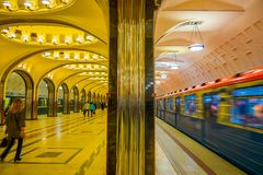 MOSCOW, RUSSIA- APRIL, 29, 2018: Mayakovskaya subway station in Moscow, Russia. A fine example of Stalinist architecture. And one of the most famous Metro Stock Images