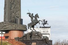 2017: The Monument to St. George on Poklonnaya hill in Victory Park. MOSCOW, RUSSIA - April 24, 2017: The Monument to St. George on Poklonnaya hill in Victory Royalty Free Stock Images