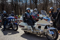 Moscow, Russia - April 23, 2016: Motorcyclists open the spring s Royalty Free Stock Image