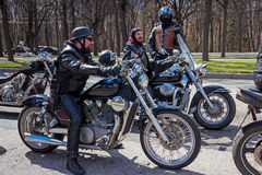 Moscow, Russia - April 23, 2016: Motorcyclists open the spring s Stock Image