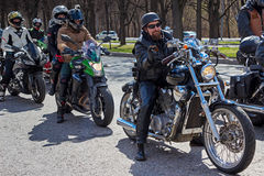 Moscow, Russia - April 23, 2016: Motorcyclists open the spring s Royalty Free Stock Photos