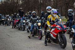 Moscow, Russia - April 23, 2016: Motorcyclists open the spring s Royalty Free Stock Images