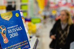 MOSCOW, RUSSIA - APRIL 27, 2018: Official album for stickers dedicated to the FIFA World Cup RUSSIA 2018 on store shelf. MOSCOW, RUSSIA - APRIL 27, 2018 Royalty Free Stock Image
