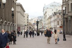 Old Arbat street in Moscow,Russia. MOSCOW, RUSSIA - APRIL 16 : Old Arbat street on April 16, 2016 in Moscow,Russia. Arbat street is a popular pedestrian street Royalty Free Stock Photography
