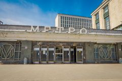 MOSCOW, RUSSIA- APRIL, 29, 2018: Outdoor view of the entrance to the metro station Smolenskaya , Moscow. Russia Royalty Free Stock Images