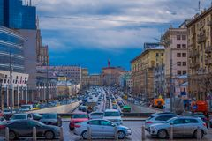 MOSCOW, RUSSIA- APRIL, 29, 2018: Outdoor view of heavy traffic from Lubyanka Square with hundreds of cars, in a gorgeous. Cloudy day in dowtown of the city of Royalty Free Stock Photography