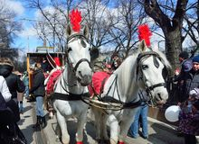 Moscow, Russia, April, 15, 2017. Parade of trams in 2017 year on Chistoprudny Boulevard. Horses harnessed in the competition Stock Photo