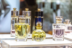 MOSCOW, RUSSIA - April 11, 2012 - Parfume corner in large shoppi Royalty Free Stock Image