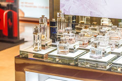 MOSCOW, RUSSIA - April 11, 2012 - Parfume corner in large shopping center Stock Photo