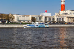 MOSCOW, RUSSIA - APRIL 30, 2017: Pleasure boats on the background of Berezhkovskaya Embankment Moskva River Royalty Free Stock Photography