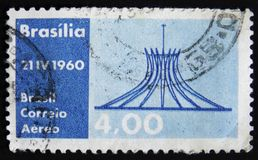 Brazil postage stamp devoted to 21.04.1960 - the Day of Airmail of Brazil, circa 1960. MOSCOW, RUSSIA - APRIL 2, 2017: A post stamp printed in Brazil devoted to Stock Photo