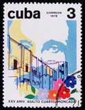 MOSCOW, RUSSIA - APRIL 2, 2017: A post stamp printed in Cuba devoted to 25 anniversary of assault on the Moncada barracks, circa. 1978 royalty free stock photo